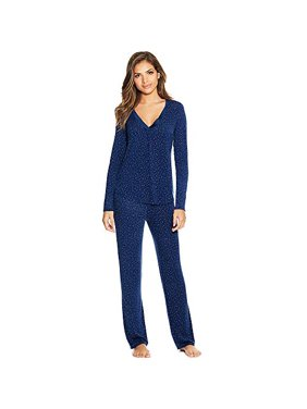 Maidenform Womens V-Neck PJ Set, S, Blue Scattered Dot
