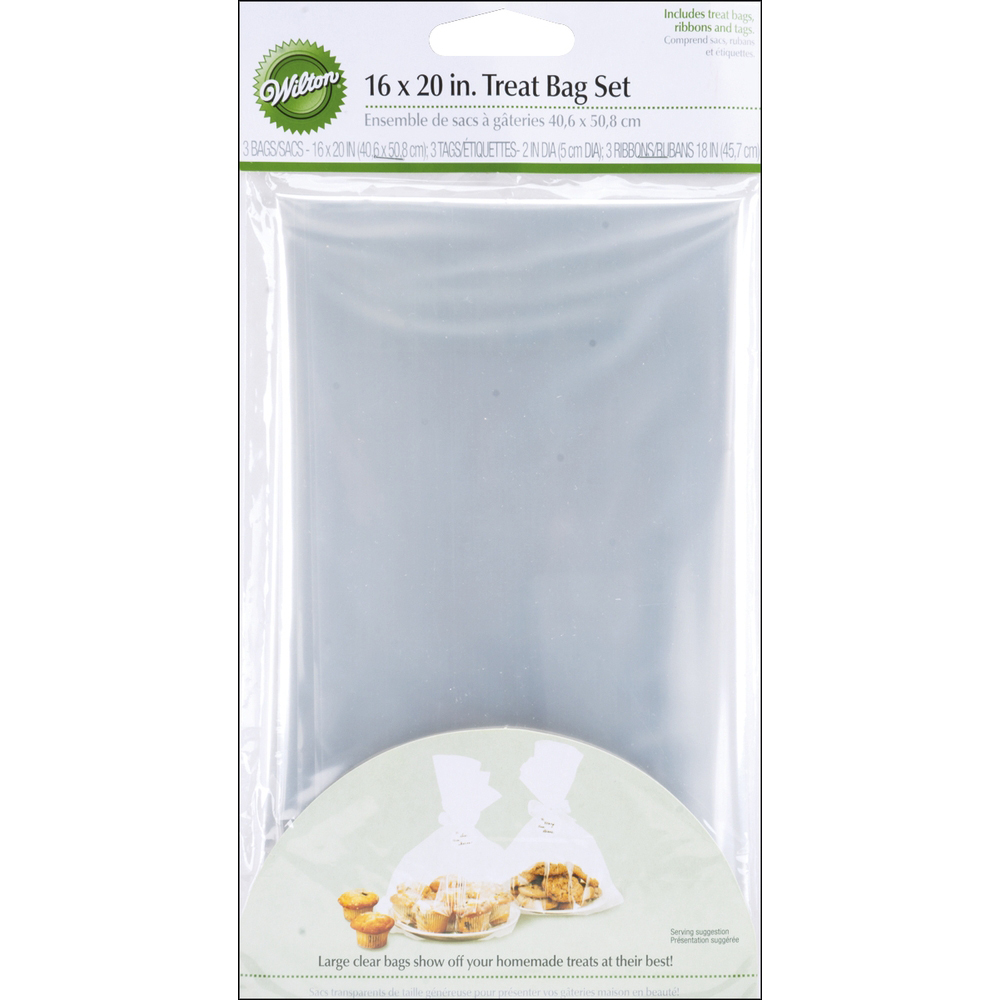 "Treat Bags, Clear, 4-Pack, 10"" x 16"""