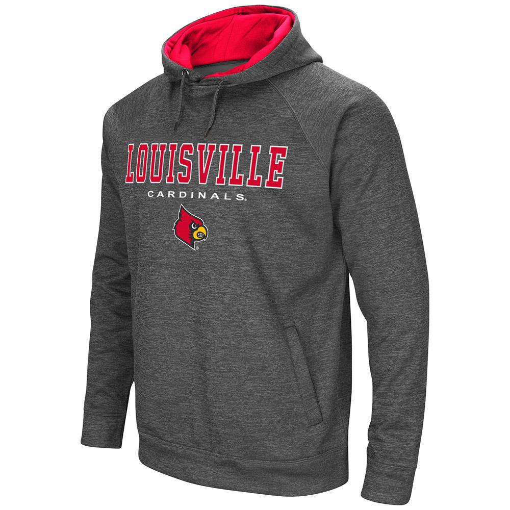 Mens Louisville Cardinals Heather Charcoal Pull-over Hoodie by Colosseum