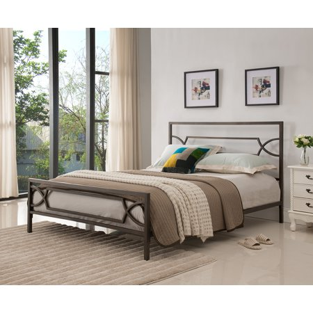Vegas Pewter Queen Size Contemporary Metal Slat Bed Frame Headboard