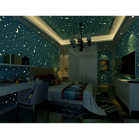 - Stars and Moons Fluorescent Wallpaper for Kids Bedroom, 20.7