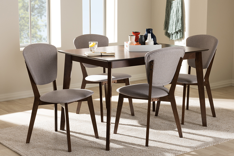 Tarelle Mid Century Modern Walnut Finished Fabric Upholstered 5pc Dining Set Light Gray, Brown - Baxton Studio