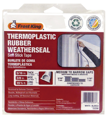 Thermwell EV20W Rubber Weatherseal, Self Sticking, White, 20-Ft.