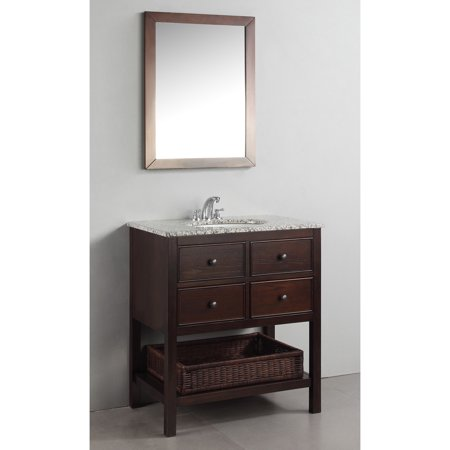 Wyndenhall New Haven Walnut Brown 30 Inch Bath Vanity With 2 Drawers And Dled Grey