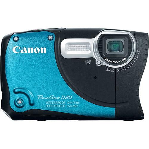 Canon PowerShot D20 Digital Camera, Black/Blue