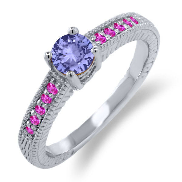0.64 Ct Round Blue Tanzanite Pink Sapphire 18K White Gold Engagement Ring by