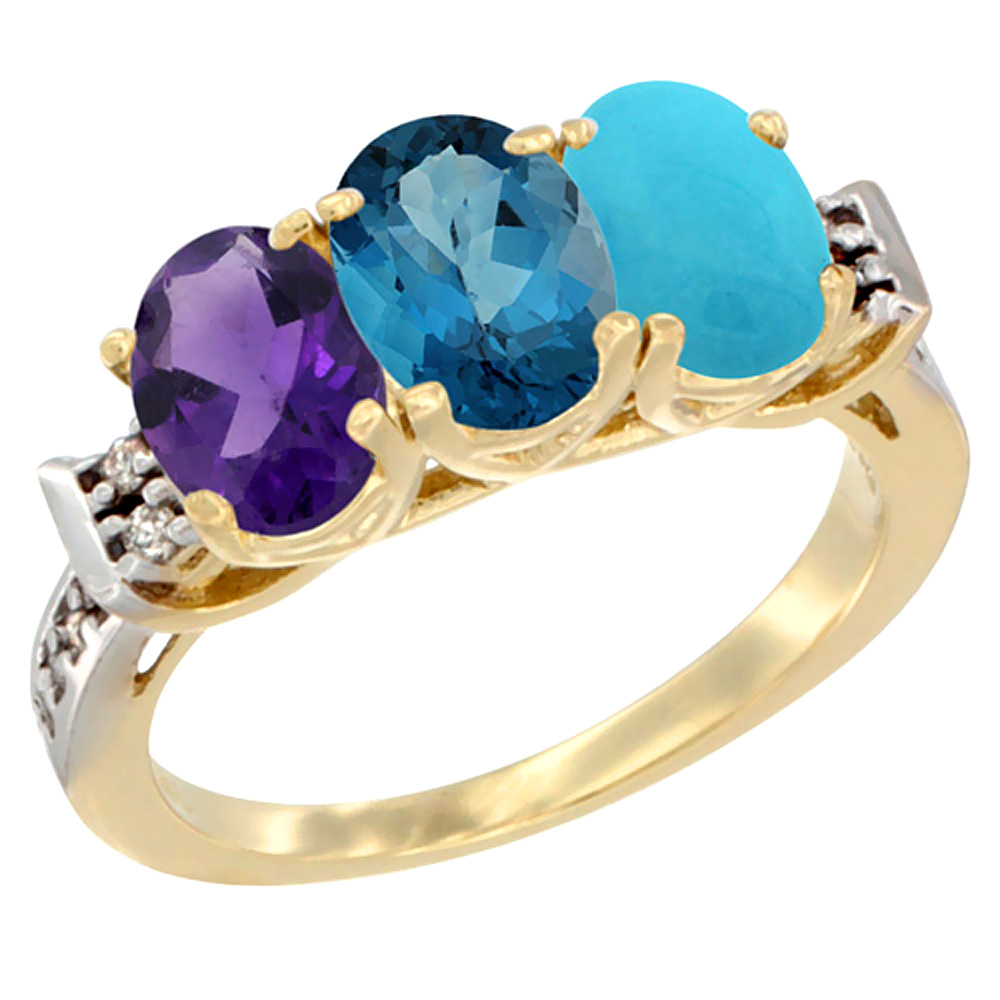10K Yellow Gold Natural Amethyst, London Blue Topaz & Turquoise Ring 3-Stone Oval 7x5 mm Diamond Accent, sizes 5 10 by WorldJewels