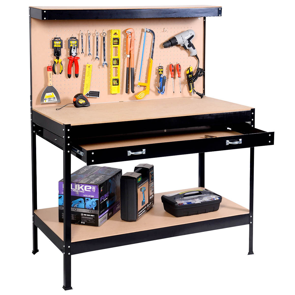 Costway Work Bench Tool Storage Steel Frame Tool Workshop Table W/ Drawer and Peg Boar