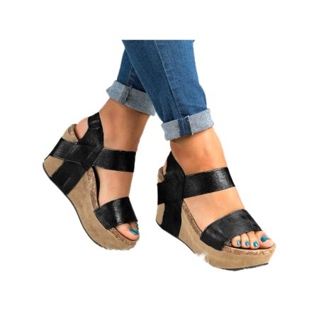 Women Casual Wedge High Heel Open Toes Sandals Platform Shoes (Heel Mini Platform Sandal)