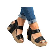Women Casual Wedge High Heel Open Toes Sandals Platform Shoes Summer
