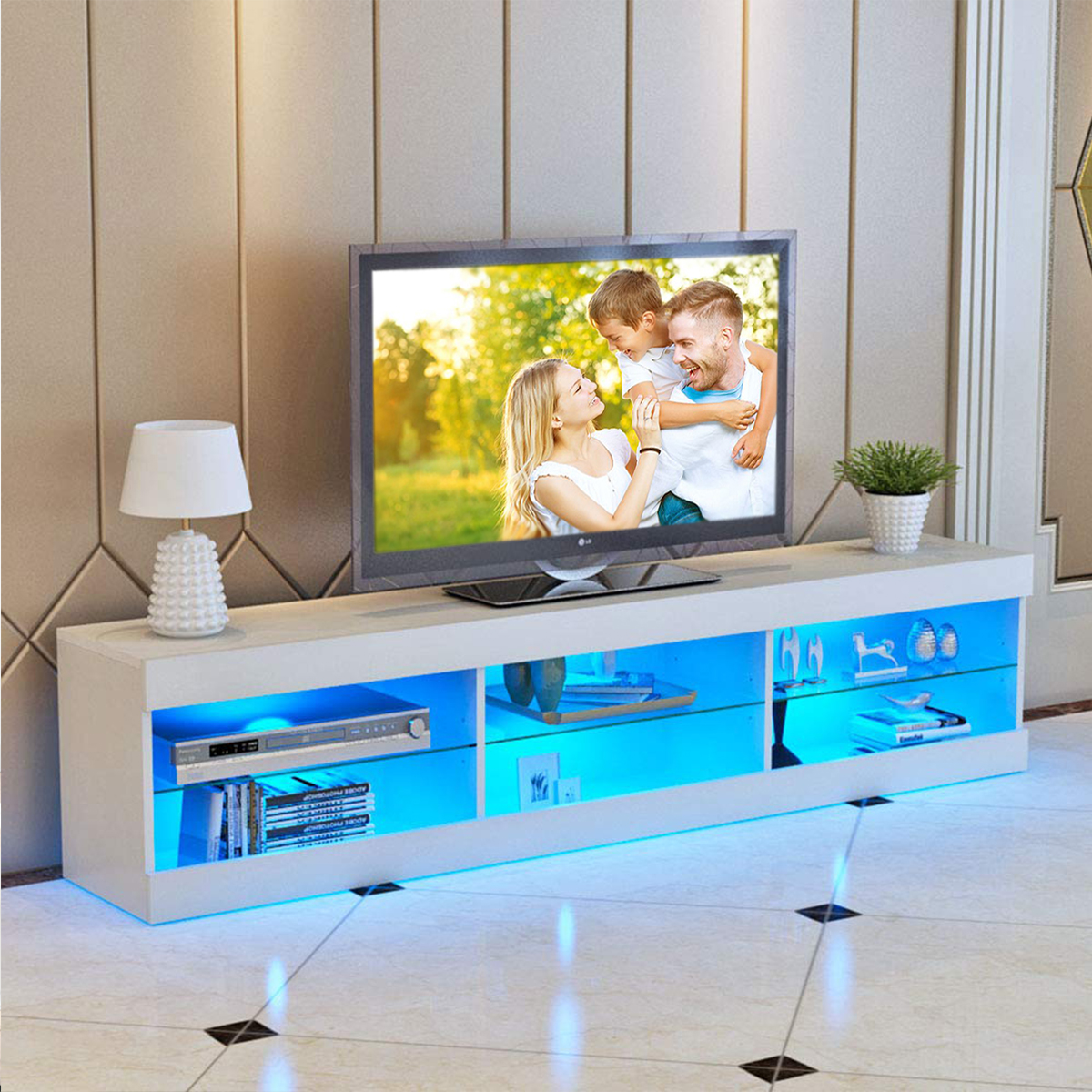 57'' TV Stand for Flat TV 40-55'' inch TV in Home w/LED Lights