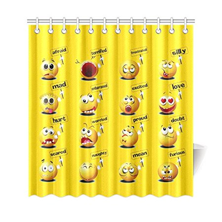 GCKG Funny Emojis Face Placard Shower Curtain, Yellow Emoticons Balls Polyester Fabric Shower Curtain Bathroom Sets with Hooks 66x72 Inches - image 3 of 3