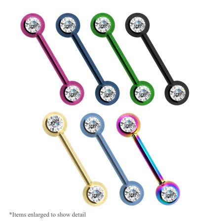 Nipple Ring 14g Double CZ Titanium Anodized Surgical Steel 1Pc