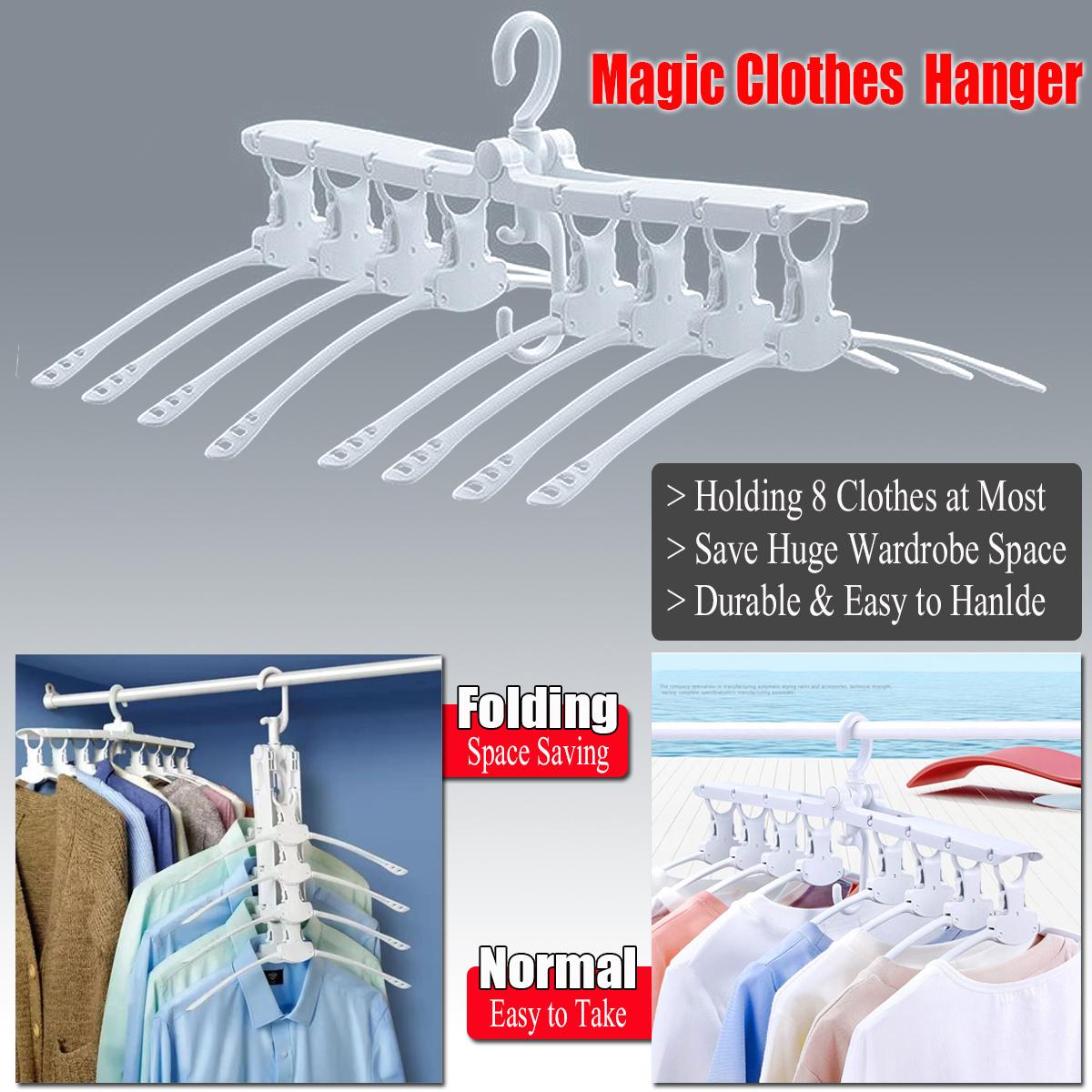 8-in-1 Space Saving Folding Clothes Multi Hanger Wardrobe Organizer Hook Rack