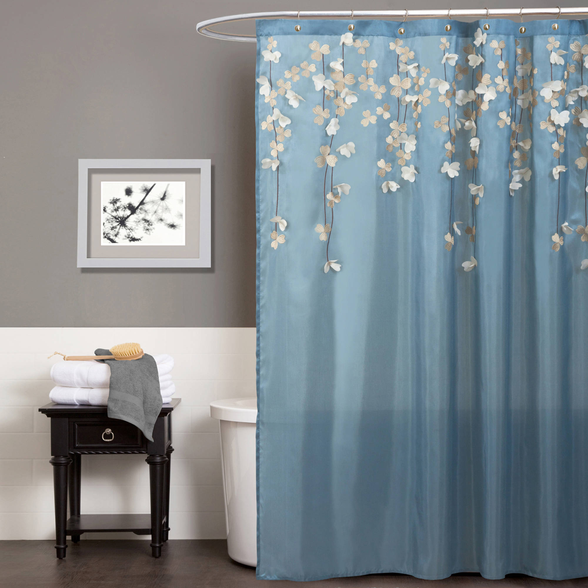 brown and white shower curtain. Below 70  Shower Curtains Walmart com