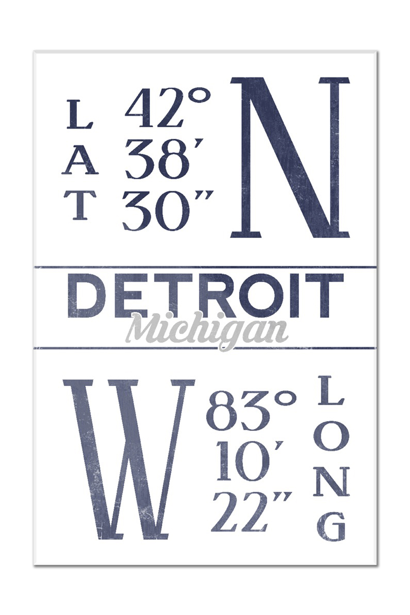 detroit michigan latitude longitude blue lantern press artwork 12x18 acrylic wall art gallery quality walmart com walmart com walmart com