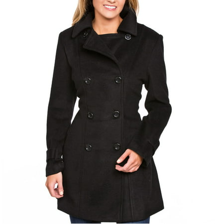 Petite Spandex Peacoat - Women's Wool Blend Double Breasted Pea Coat (Black, Medium)