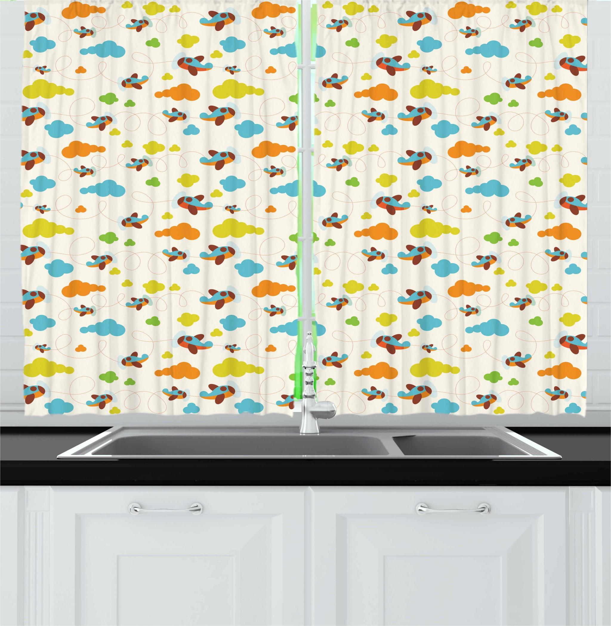 Nursery Airplane Curtains 2 Panels Set, Cheerful Toddler Pattern of Pastel Fluffy Clouds Aircraft and Dashed Lines, Window Drapes for Living Room Bedroom, 55W X 39L Inches, Multicolor, by Ambesonne
