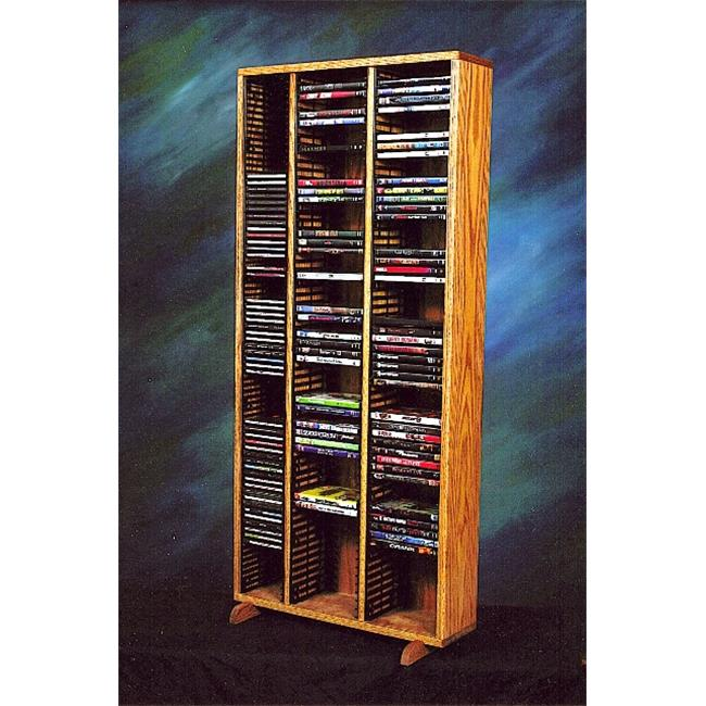Wood Shed 313-4 CD-DVD Solid Oak Tower for CDs and DVDs - Individual Locking Slots
