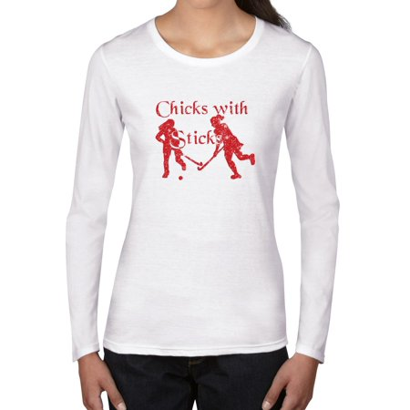 Funny Field Hockey Chicks With Sticks Graphic Design Women's Long Sleeve T-Shirt