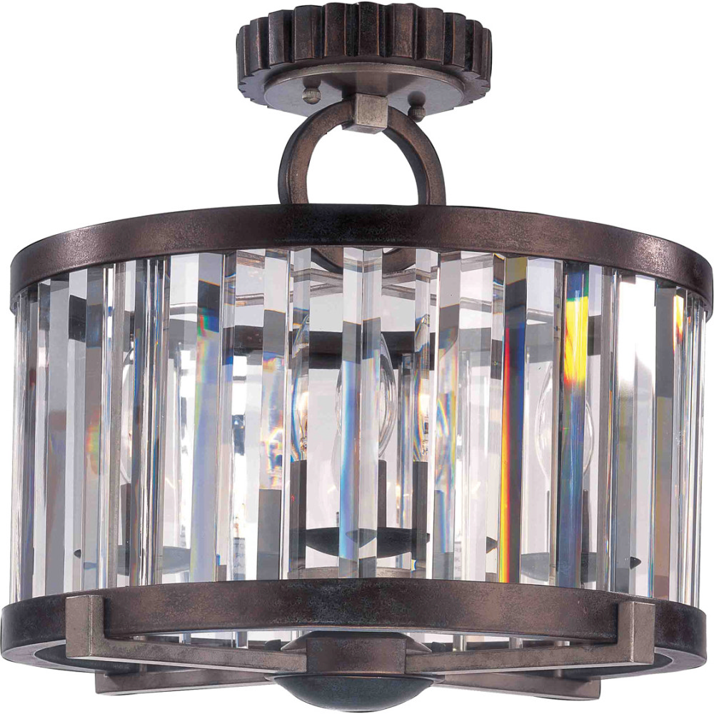 "Kalco Lighting KAL-2546GB 16"" Semi Flush With Cut Crystal Shade"