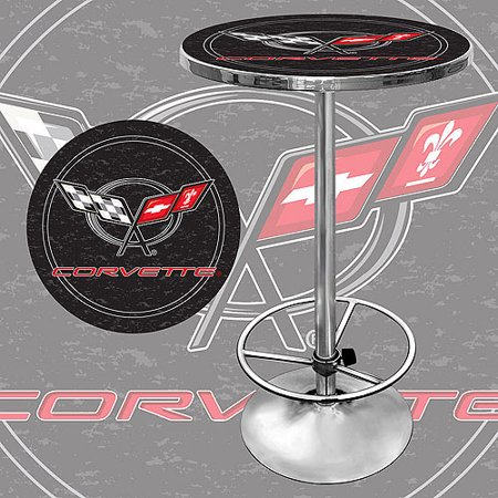 "Trademark Corvette C5 42"" Pub Table, Chrome/Black"