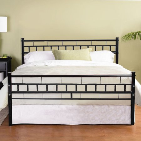 Zimtown Black Queen Wood Slats Bed Frame Platform Headboard Footboard Furniture ()