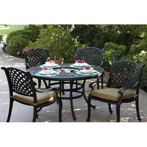 Fleur De Lis Living Lincolnville 5 Piece Round Dining Set with Cushions