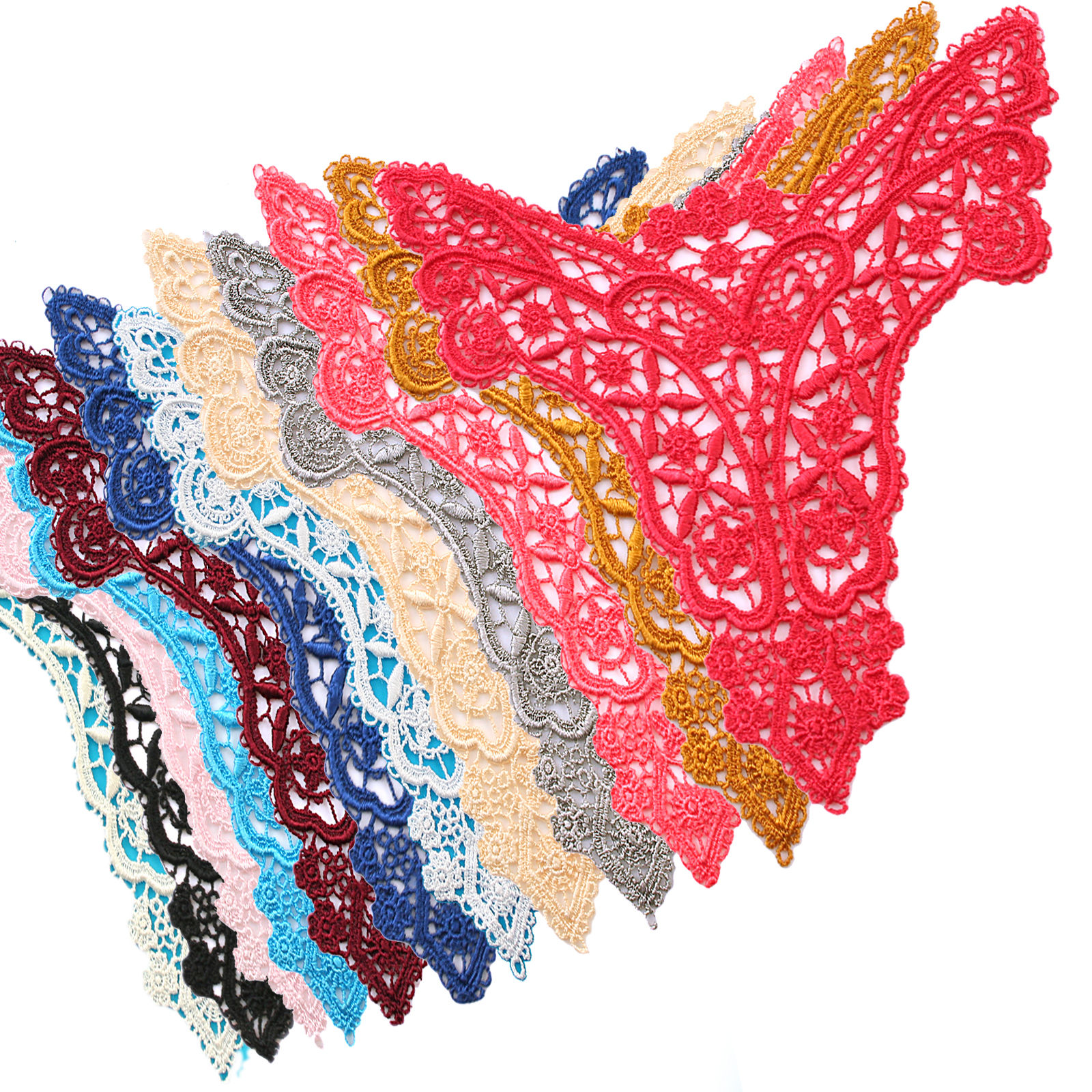7 x 5.5 inches White Coral Gold 14 Color Venice Lace Bodice Motif Applique Patch