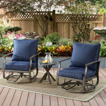 Home Garden Patio - Better Homes & Gardens Chauncey 3-Piece Patio Chat Set with Navy Cushions
