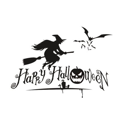 Happy Halloween Pumpkins Spooky Cemetery Witch and Bats Tomb Wall Decals Window Stickers Halloween Decorations - Decoration Tombe Halloween