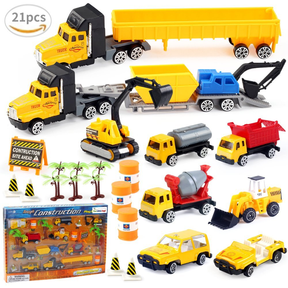 Car Vehicle Toys Birthday Party Educational Set with Diggers, Mixing Truck, Construction... by Fun Little Toys