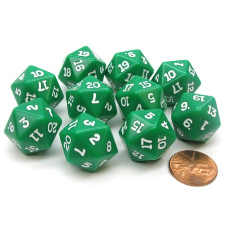Koplow Games Set of 10 Twenty Sided 19mm D20 Opaque RPG Dice - Green with White Numbers Die #02815