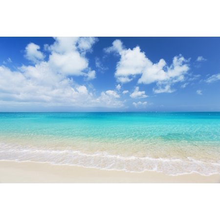 Tropical White Sand Beach and Sea In the Turks and Caicos Islands Poster Print (8 x