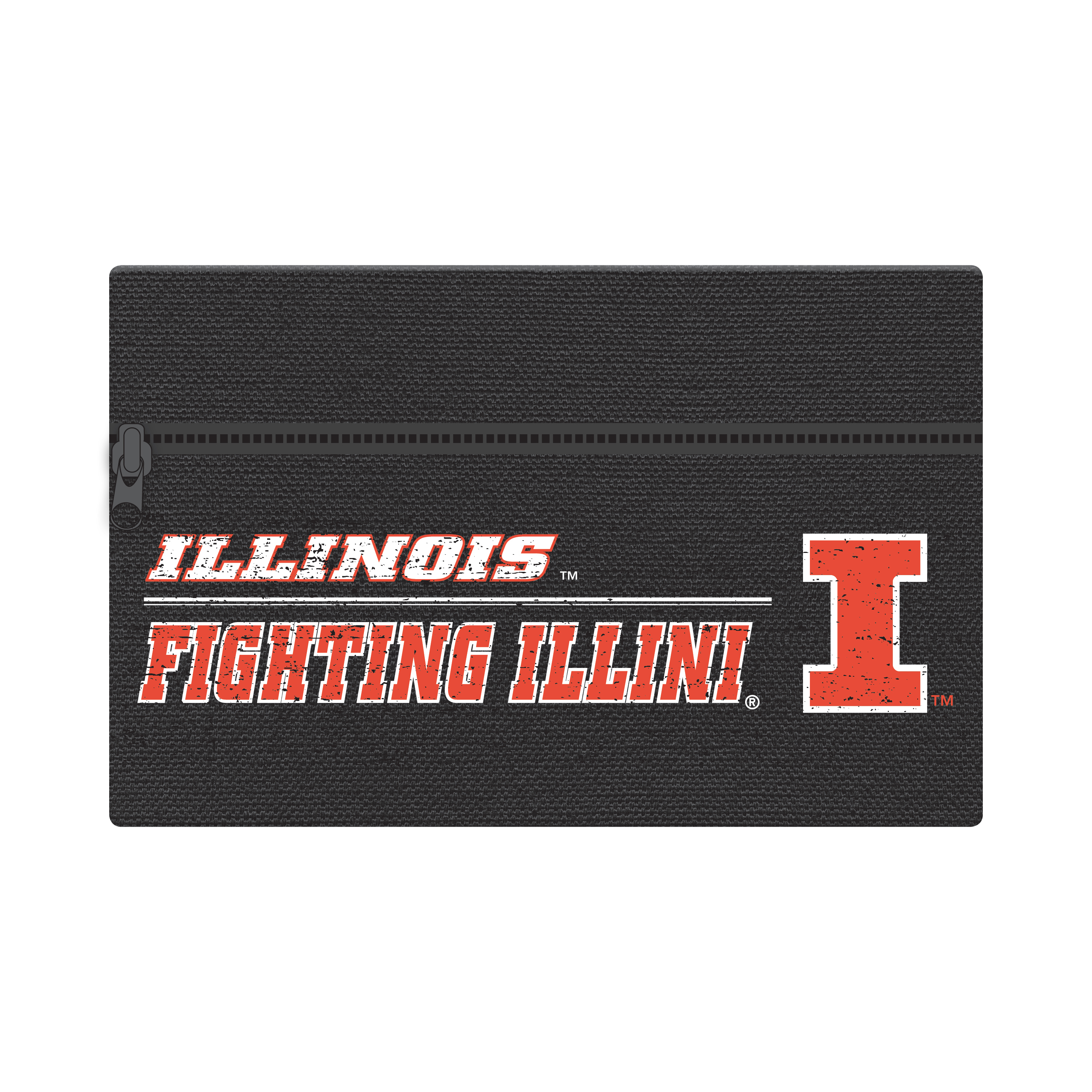 "NCAA Illinois Fighting Illini Zippered Cotton Canvas Pencil Pouch, 7.5"" by 4.625"""