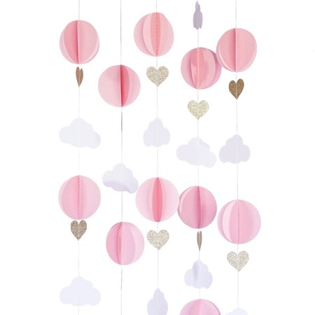 Hot Air Balloon 3D Paper Garland Baby Room Nursery Décor, Baby Shower Decoration - Pink, White, Gold - Toy Hot Air Balloon