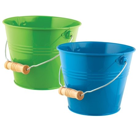 Toysmith Bright & Colorful Pail, 2 Pack, Green/Blue