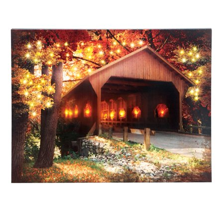 Led Lighted Covered Bridge Fall Scene Canvas With Color Changing Fiber Optic Light