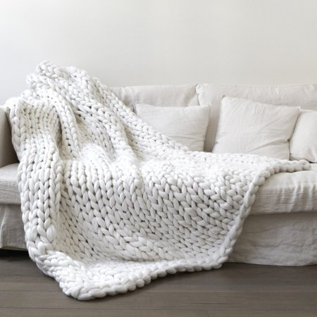 Chunky Giant Knit Throw Blanket Bulky Hand Woven