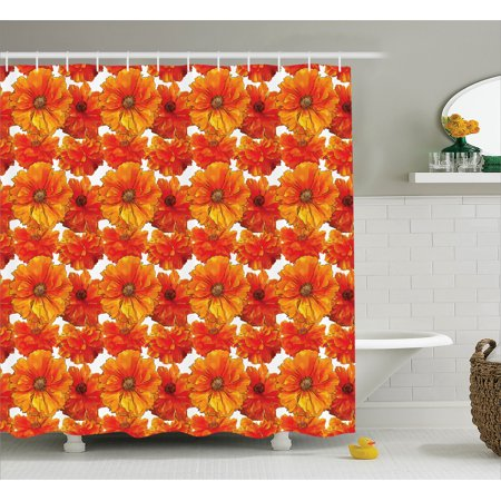 Orange Shower Curtain Set, Big Bright Flourishing Bohemian Poppies ...