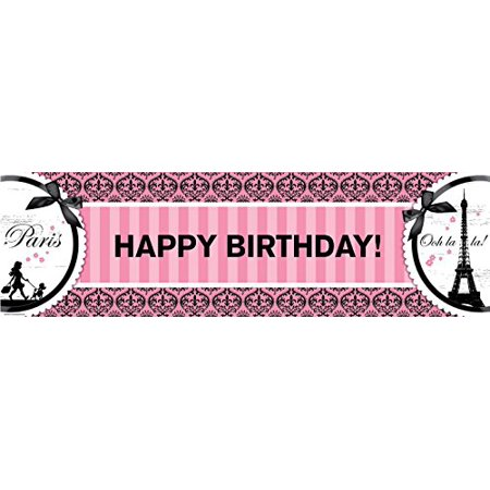 Paris Eiffel Tower Damask Party Supplies - Vinyl Birthday Banner 18