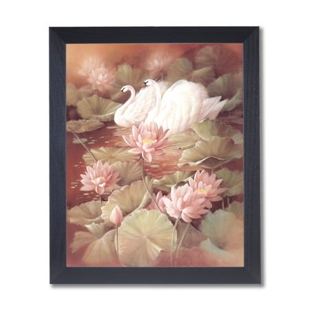 Swans On Pond Flower Exotic Bird Outdoor Wall Picture Black Frame Art