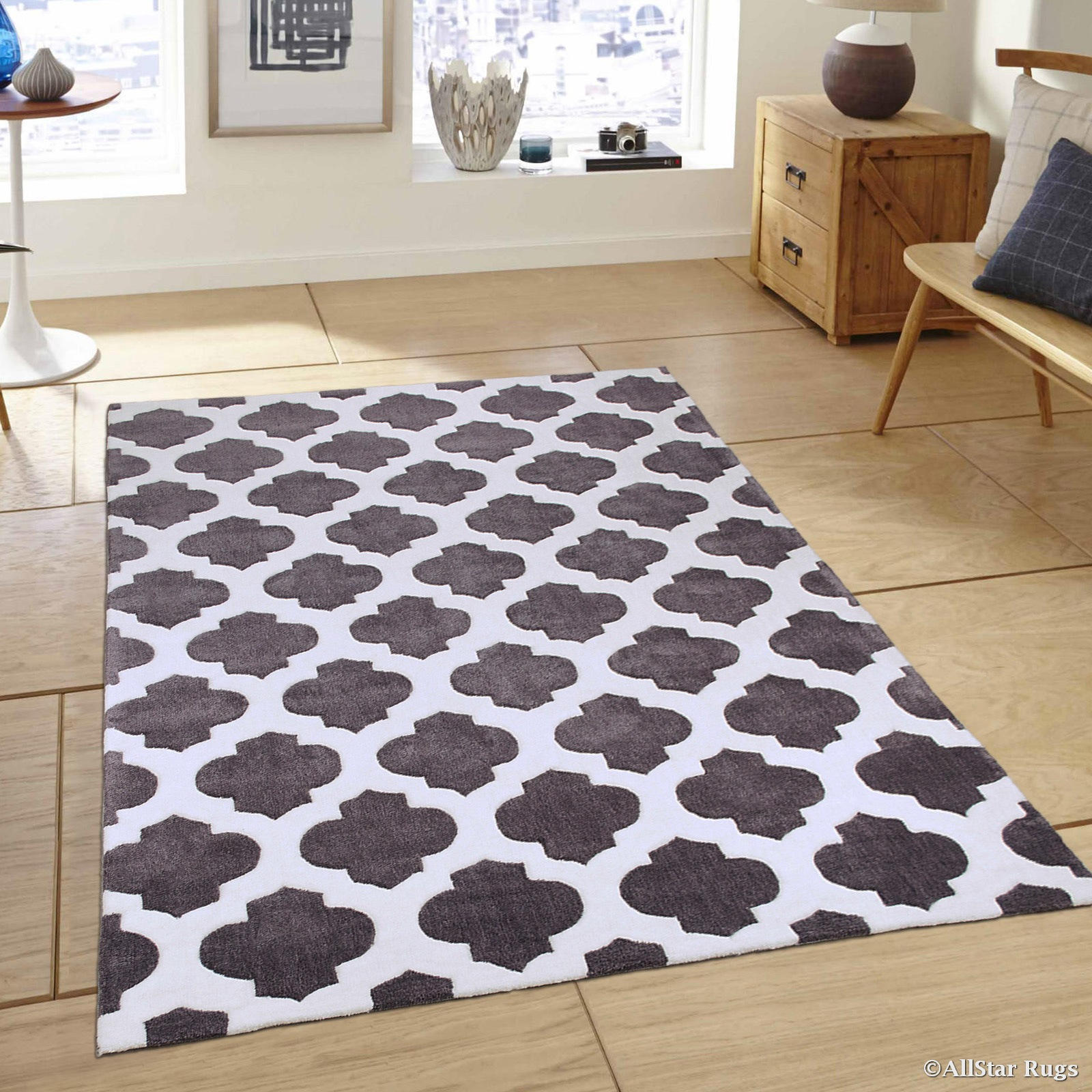 """Allstar Grey Hand Made Modern. Transitional. design Area Rug with Dimensional hand-carving highlights (4' 11"""" x 6' 11"""")"""