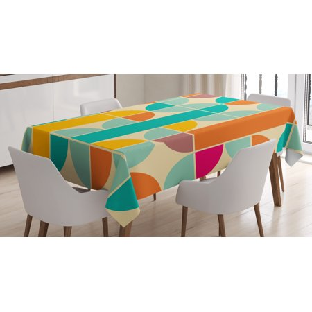 Retro Tablecloth, Pop Art Funky Unusual Geometric Forms Mosaic Style Trendy Old Fashion Artsy Graphic, Rectangular Table Cover for Dining Room Kitchen, 52 X 70 Inches, Multicolor, by Ambesonne - Funky Table Decorations