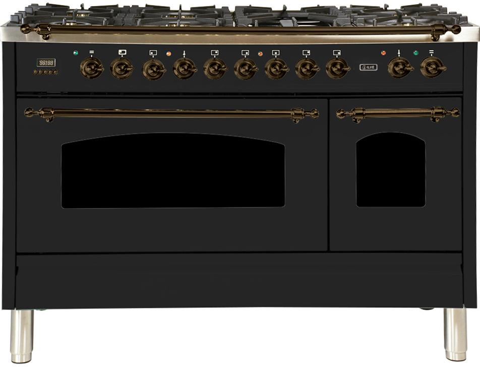Ilve UPN120FDMPMY Nostalgie Series 48 Inch Dual Fuel Convection Freestanding Range Natural Gas 7 Sealed Brass Burners Total Oven Capacity in Matte Graphite 5 cu.ft Bronze Trim