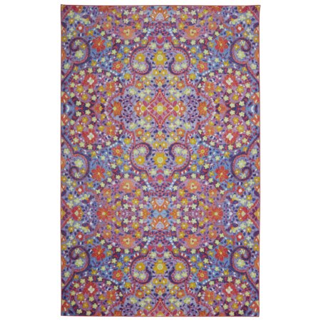 Mohawk Prismatic Area Rugs - Z0268 A419 Contemporary Pink / Sky Blue Blossoms Leaves Bulbs Vines Rug - Punk Mohawk