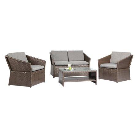 Baner Garden Outdoor Furniture Complete Patio PE Wicker Rattan Garden Set, Black, 4-Pieces