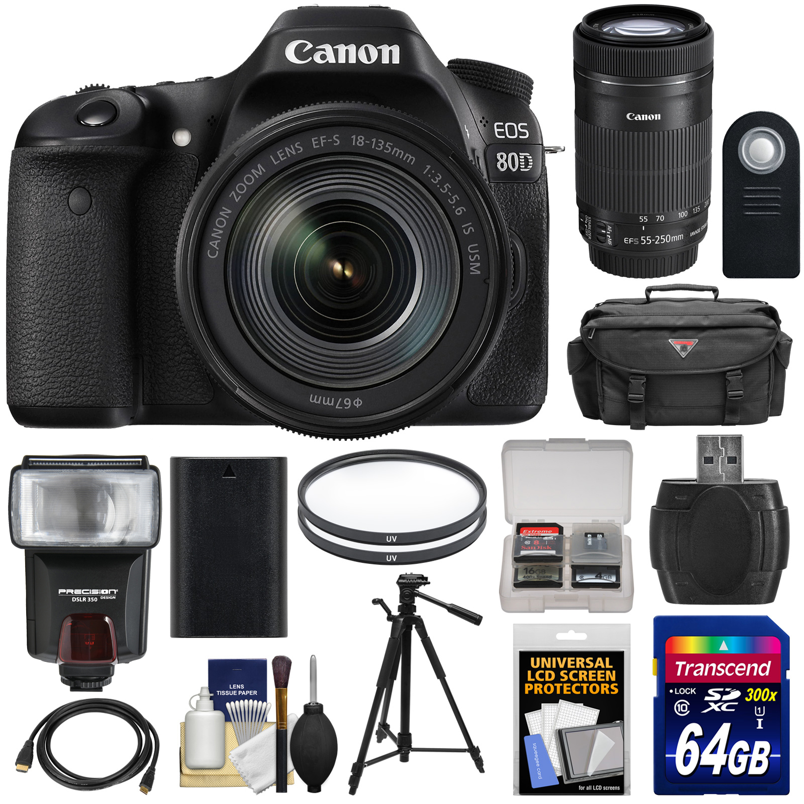 Canon EOS 80D Wi-Fi Digital SLR Camera & 18-135mm IS USM with 55-250mm IS STM Lens + 64GB Card + Battery +... by Canon