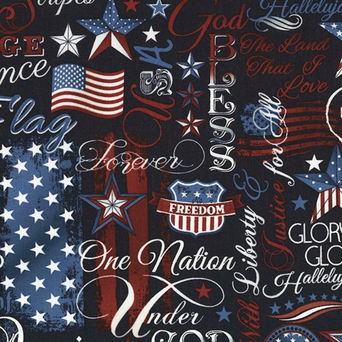 Timeless Treasures Fabrics Patriotic Novelty Fabric Navy Patriotic Words
