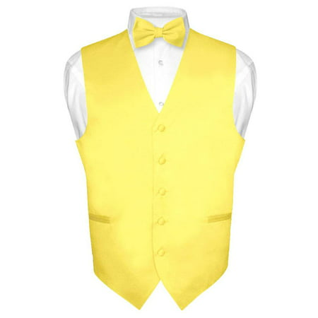 Men's Dress Vest & BowTie Solid GOLDEN YELLOW Color Bow Tie Set for Suit or Tux - Vest Bow Tie